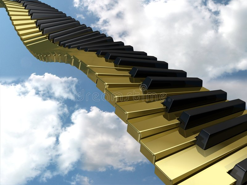 Goldene wellenförmige Tastatur stock abbildung