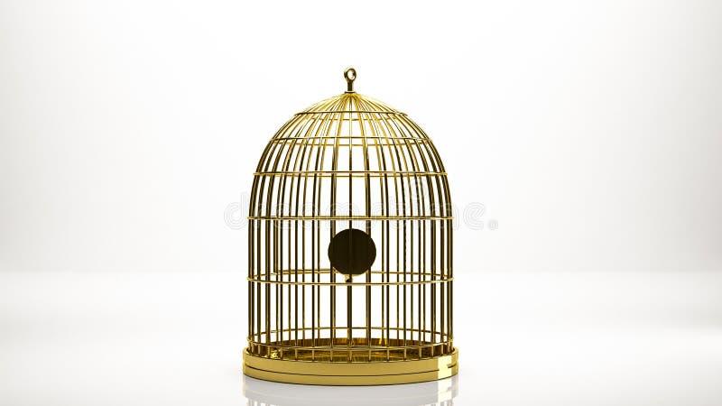 goldene Wiedergabe 3d eines Käfigs innerhalb eines Studios stock abbildung