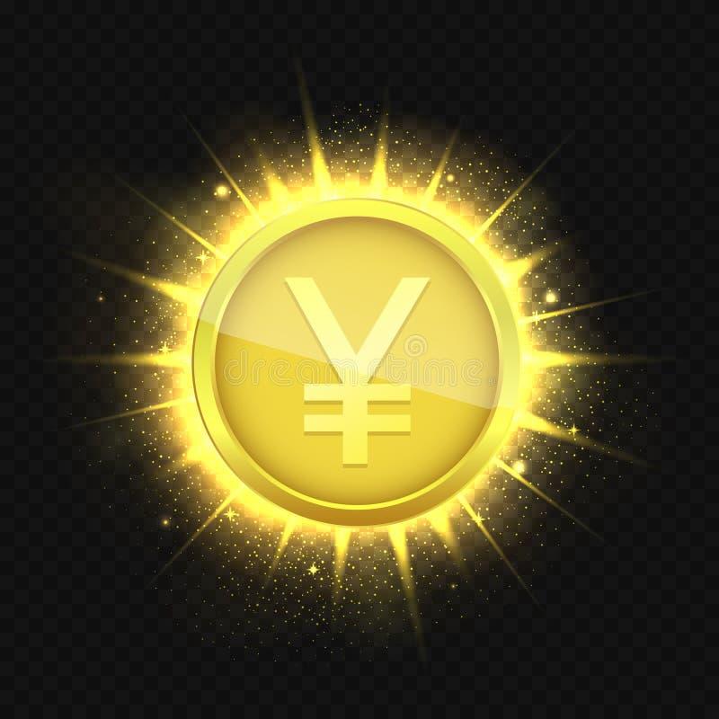 Goldene Yen auf gebrochenem Hintergrund lizenzfreie abbildung