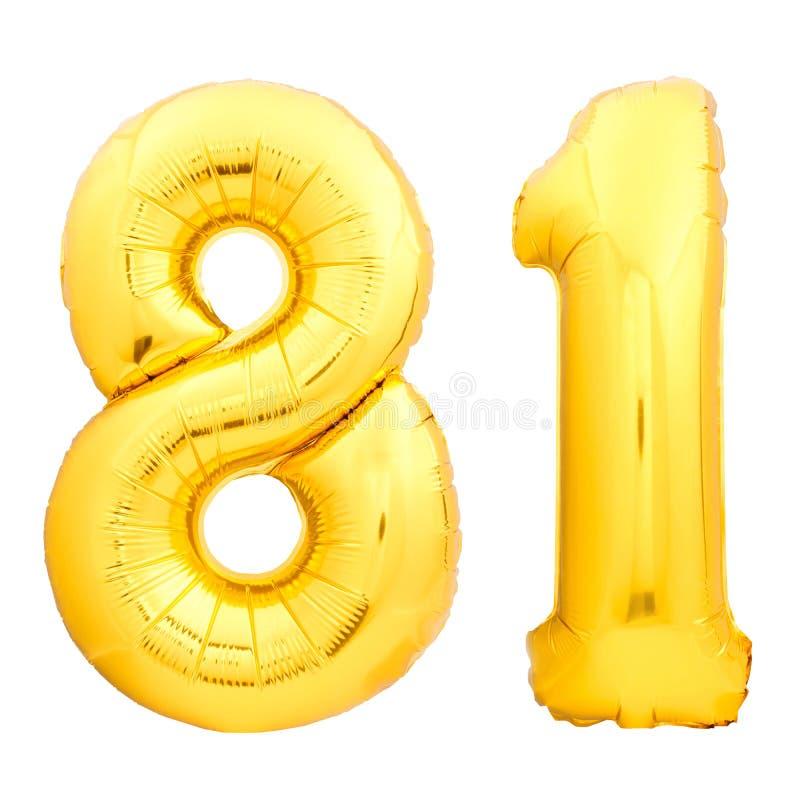 Goldene Zahl 81 achtzig man machte vom aufblasbaren Ballon stockfoto