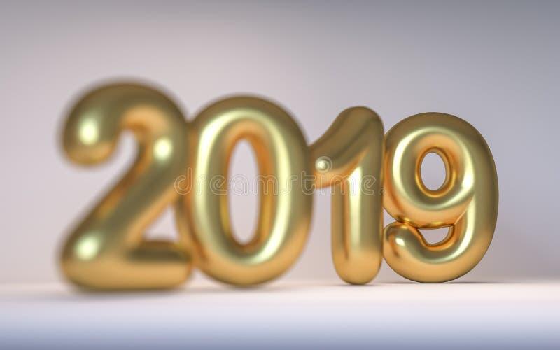 Goldene Zahl neues Jahr 2019 mit einer Schärfentiefe 3d übertragen lizenzfreies stockfoto