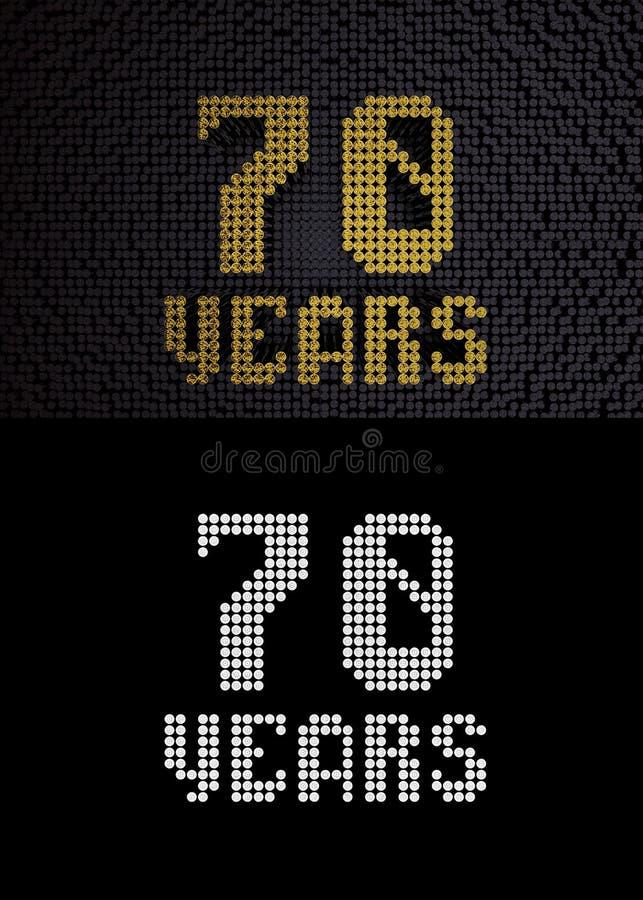 Goldene Zahl siebzig Jahre 3d übertragen vektor abbildung
