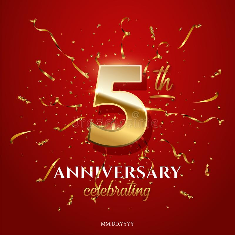 5 goldene Zahl und Jahrestag, die Text mit goldenem Serpentin und Konfettis auf rotem Hintergrund feiert Vektorfünftel lizenzfreie abbildung