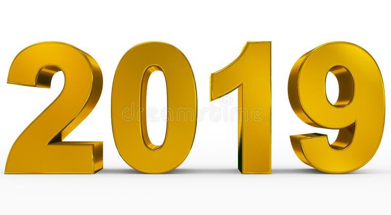 Goldene Zahlen 3d des Jahres 2019 lokalisiert auf Weiß vektor abbildung