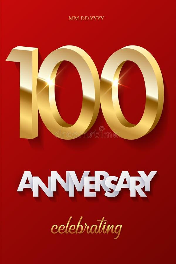100 goldene Zahlen und Jahrestag, die Text auf rotem Hintergrund feiern Vertikale Hundertstel Jahrestagsfeier des Vektors vektor abbildung