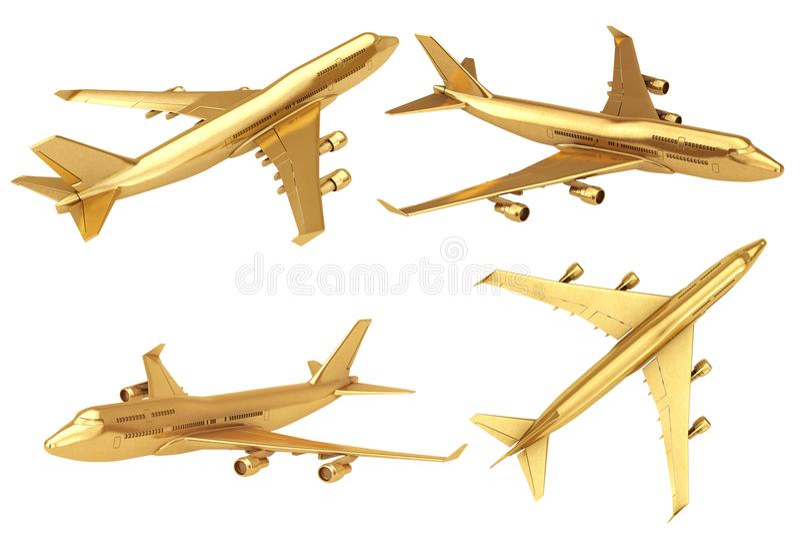 Goldenen Jet Passengers Flugzeug Wiedergabe 3d vektor abbildung