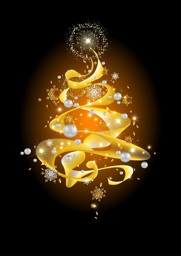 Goldener abstrakter Weihnachtsbaum lizenzfreie abbildung