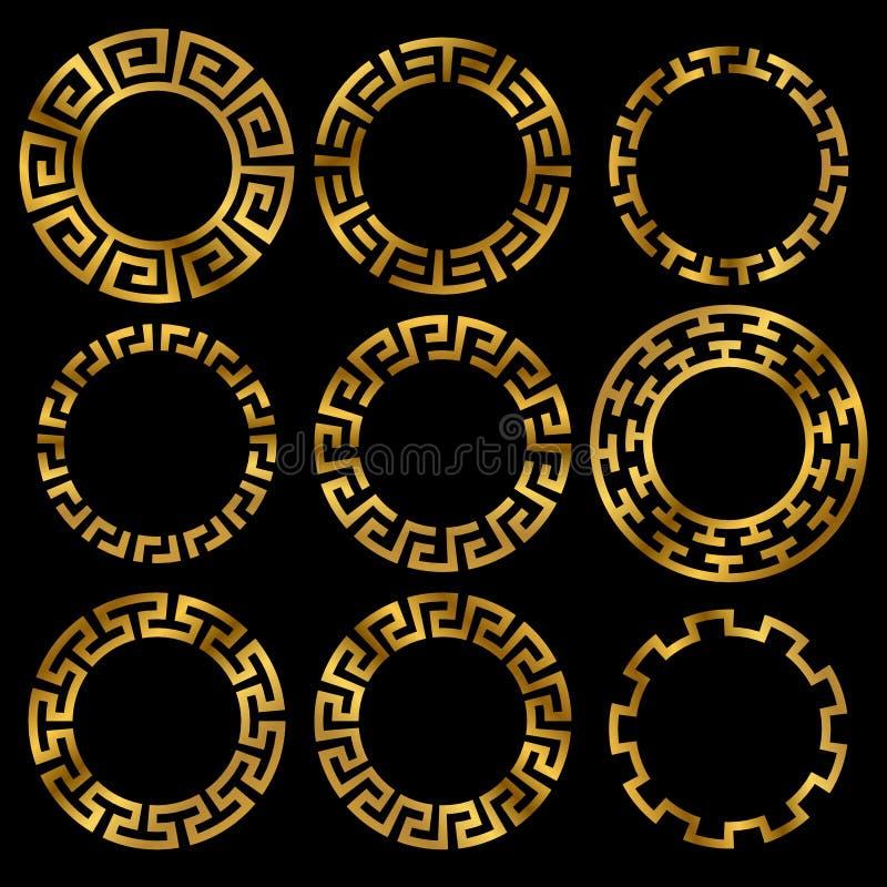 Goldener altgriechischer runder Rahmenverzierungssatz lizenzfreie abbildung
