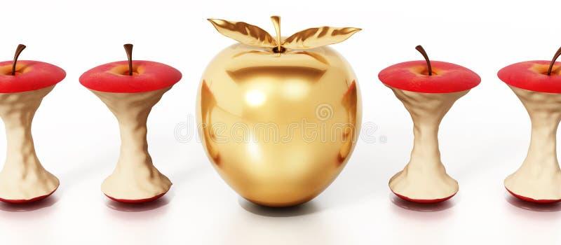 Goldener Apfel, der heraus unter gegessenen Apfelkernen steht Abbildung 3D lizenzfreie abbildung
