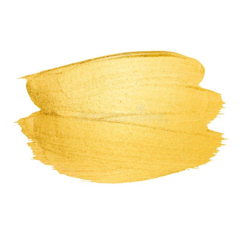 Goldener Bürstenanschlag des Vektors Aquarellbeschaffenheits-Farbenfleck lokalisiert auf Weiß Abstrakter handgemalter Hintergrund stockfotografie