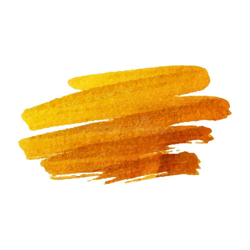 Goldener Bürstenanschlag Goldenes Spritzen des Vektors stock abbildung
