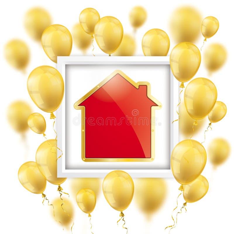 Goldener Ballon-Rahmen-goldenes Haus Stock Abbildung - Illustration ...