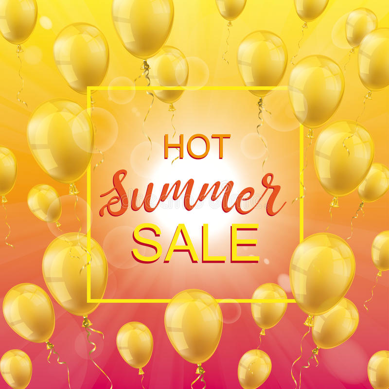 Goldener Ballon-Rahmen heißer Sommerschlussverkauf Sun vektor abbildung