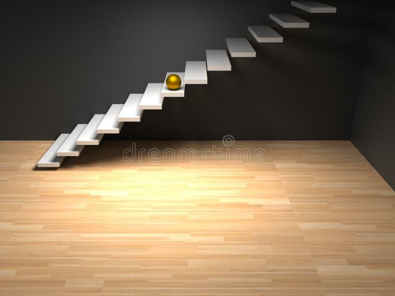 Goldener Bereich auf weißer Treppe render lizenzfreie stockfotos