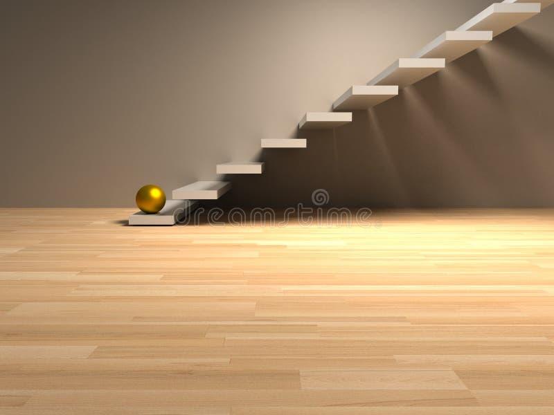 Goldener Bereich auf weißer Treppe render lizenzfreie stockbilder