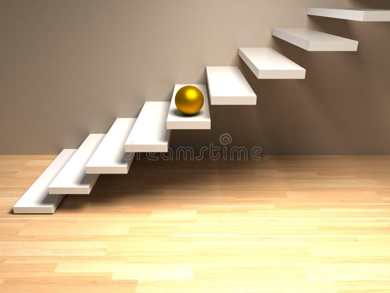Goldener Bereich auf weißer Treppe render stockfotografie