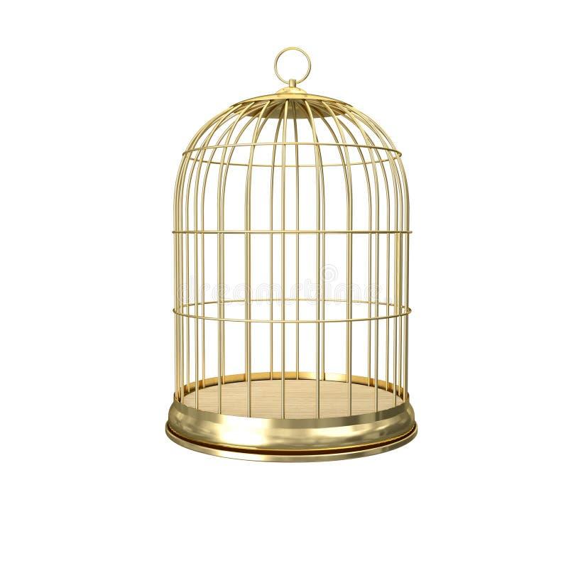 goldener Birdcage 3d stock abbildung