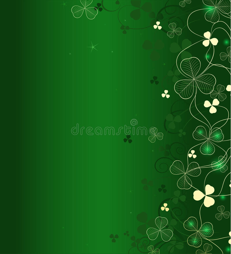 Goldener Blattklee auf grünem Hintergrund vektor abbildung