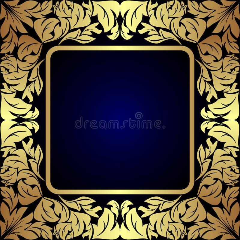 Goldener Blumenluxusaufkleber auf dunkelblauem vektor abbildung