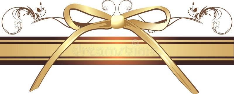 Goldener Bogen mit Verzierung auf dem dekorativen Farbband lizenzfreie abbildung