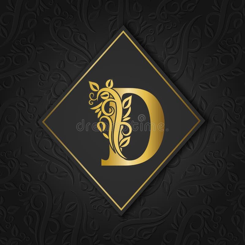 Goldener Buchstabe D mit der eleganten Blumenkontur lokalisiert auf buntem unterschiedlichem Hintergrund Erstklassiger Buchstabe  lizenzfreie abbildung