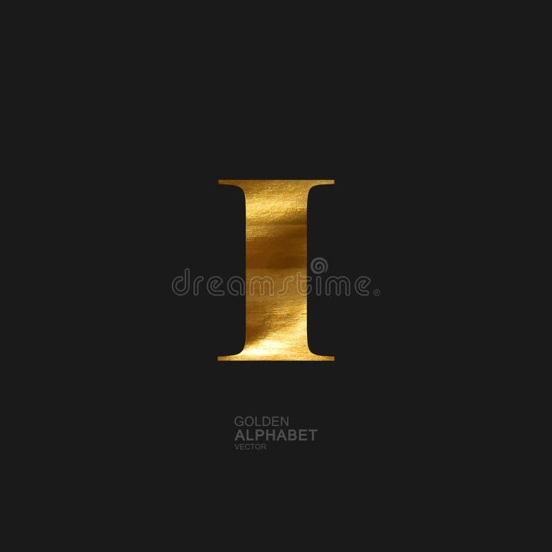 Goldener Buchstabe I stock abbildung