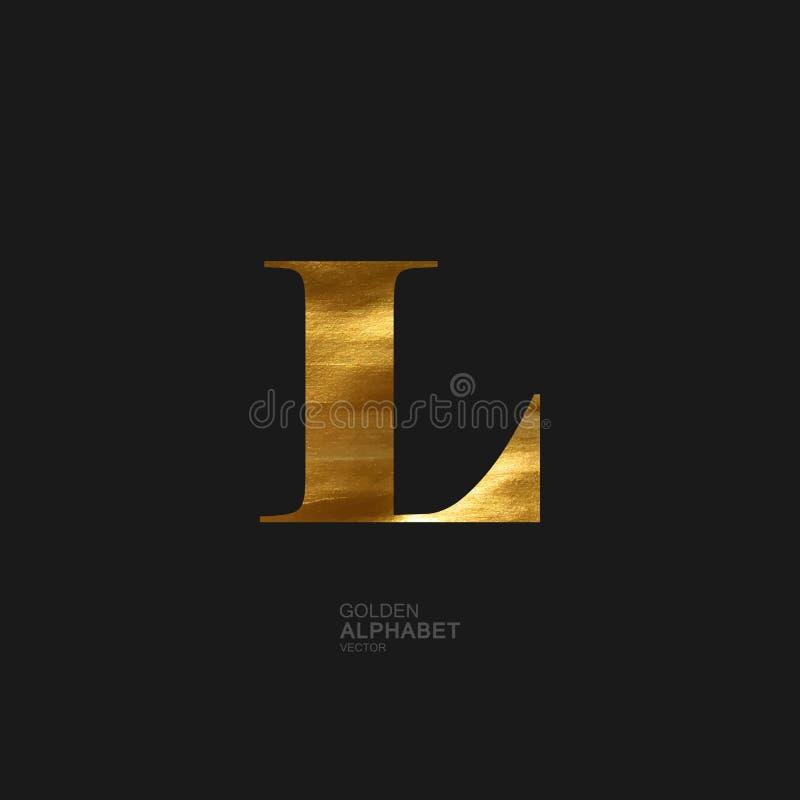 Goldener Buchstabe L stock abbildung