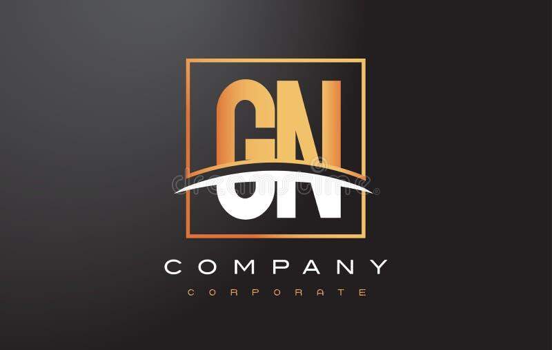 Goldener Buchstabe Logo Design GN G N mit Goldquadrat und Swoosh stock abbildung