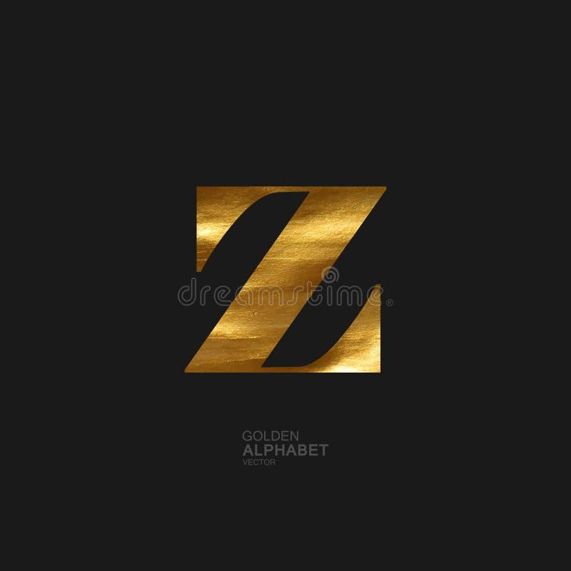 Goldener Buchstabe Z lizenzfreie abbildung