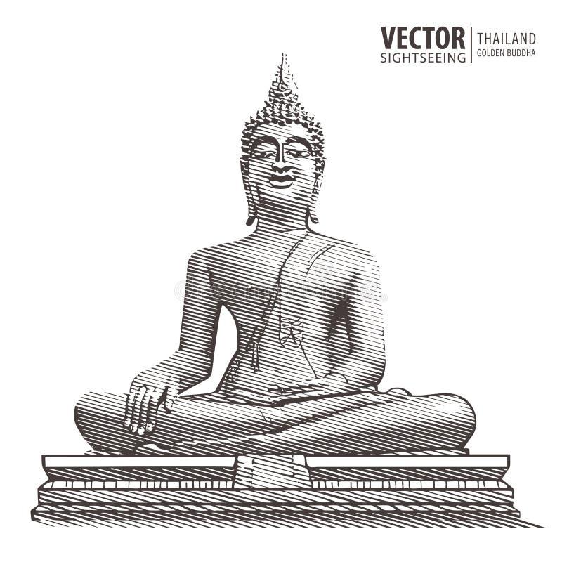 Goldener Buddha Große Statue Hand gezeichnete Schmutzartkunst thailand Auch im corel abgehobenen Betrag stock abbildung