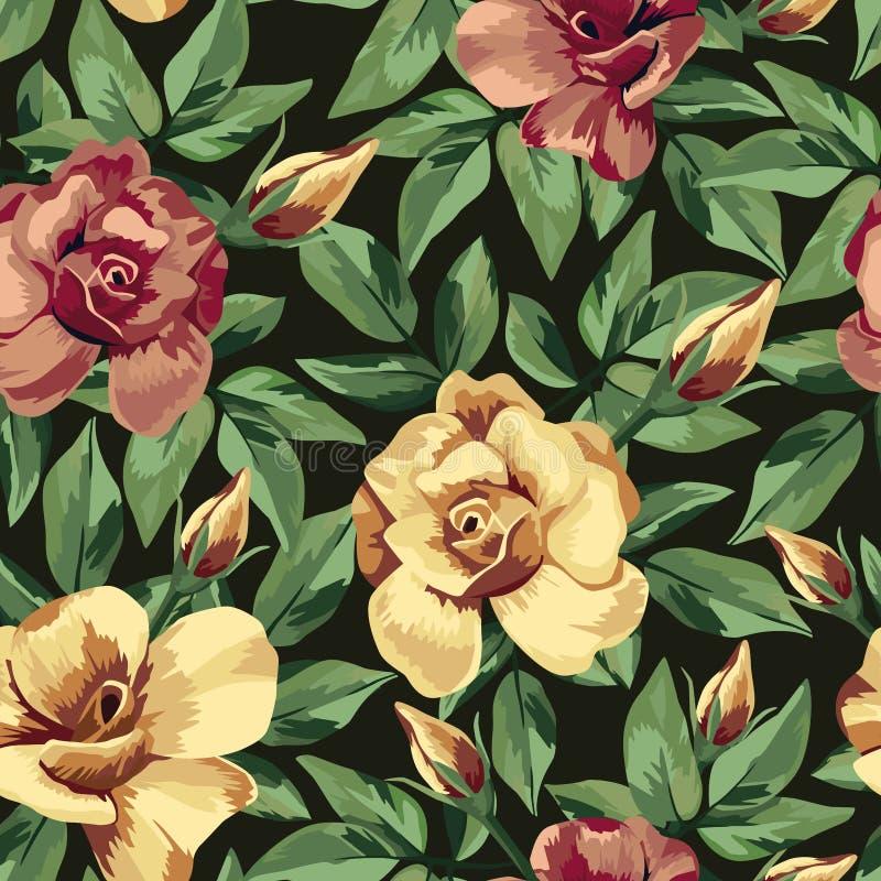 Goldener Burgunder stieg nahtloser schwarzer Hintergrund des Musters stock abbildung