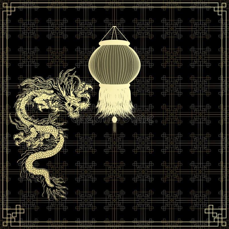 Goldener chinesischer Drache auf einem schwarzen Hintergrund vektor abbildung