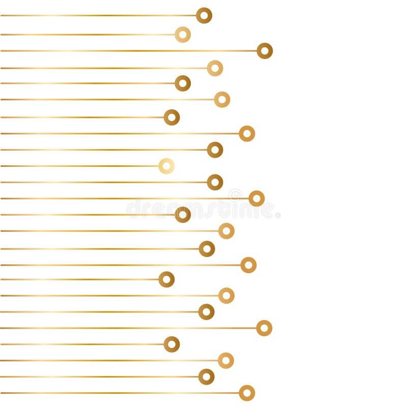 Goldener Chip, abstrakter Hightech- Hintergrund auf Weiß, vecto auf Lager vektor abbildung