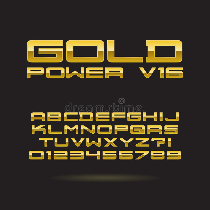Goldener Chrome-Guss und Zahlen, Vektor ENV 10, EDI stock abbildung