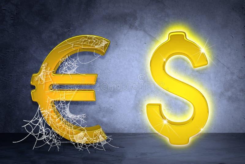 Goldener Dollar und Euro unterzeichnen herein Spinnennetz lizenzfreie stockfotos