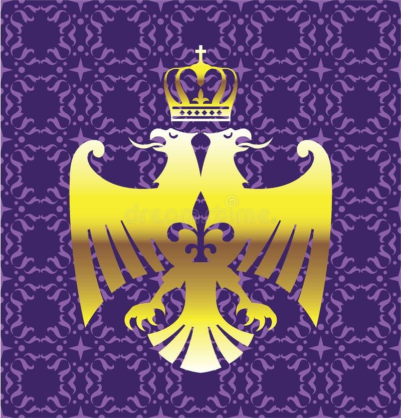 Goldener doppelter vorangegangener Eagle Royal Logo mit einer Kronen-purpurroten Hintergrund-Vektor-Kunst vektor abbildung
