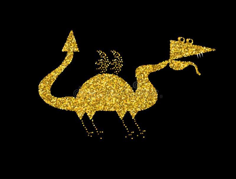 Goldener Drache auf schwarzem Hintergrund Goldchinesedrache stock abbildung