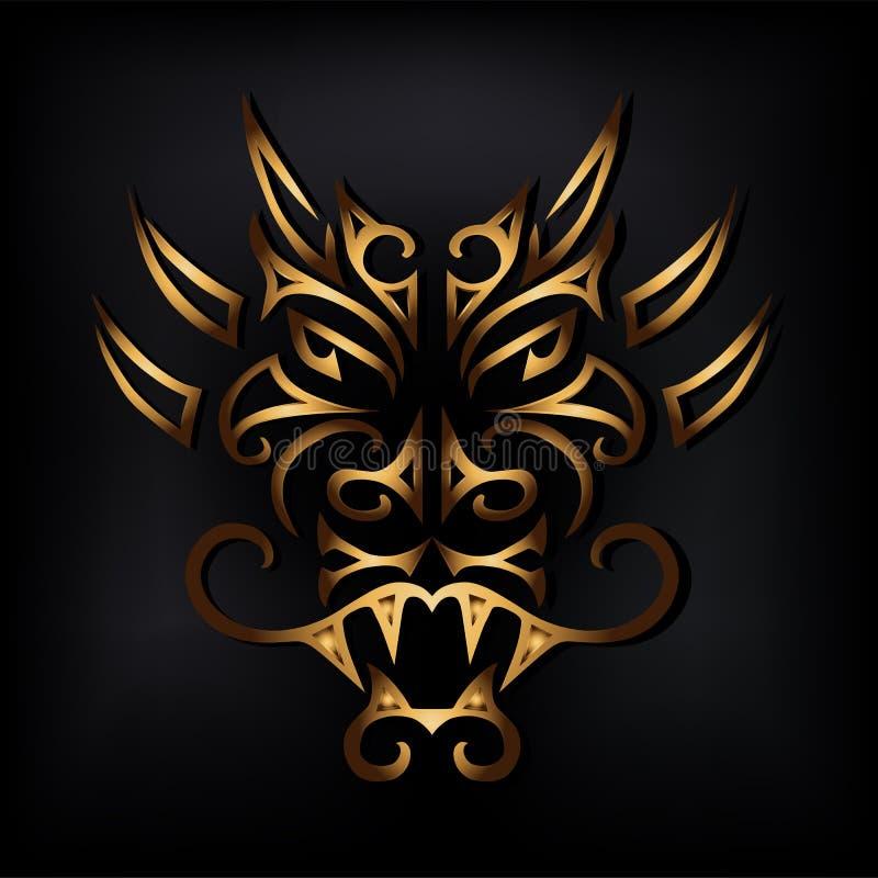 Goldener Drachekopf auf schwarzem Hintergrund lizenzfreie abbildung