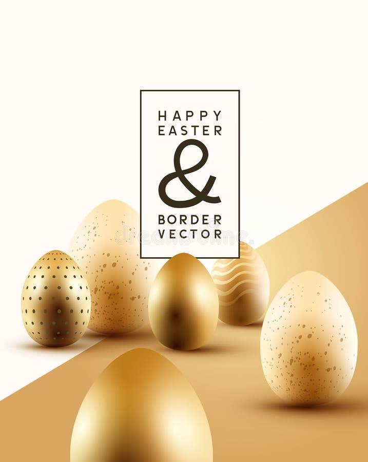 Goldener Easter Egg-Zusammensetzungs-Hintergrund lizenzfreie abbildung