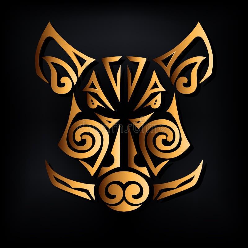 Goldener Eberkopf lokalisiert auf schwarzem Hintergrund Stilisierte Maori- Gesichtstätowierung vektor abbildung