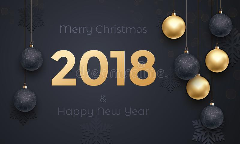 goldener Fahnen-Grußkarte der Dekoration 2018 Schwarzprämienhintergrund neuen Jahres lizenzfreie abbildung