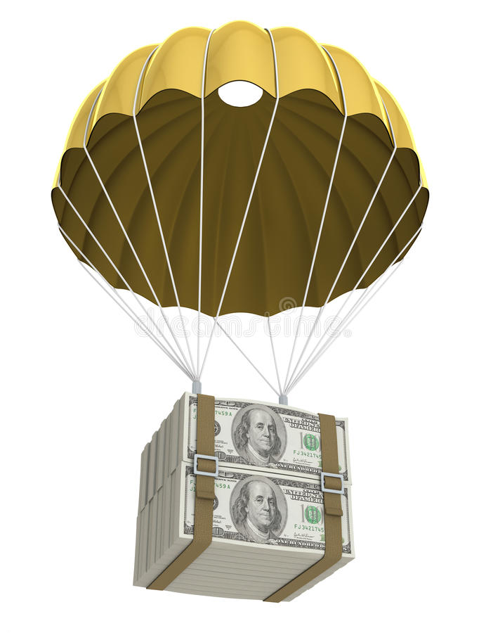 Goldener Fallschirm lizenzfreie abbildung