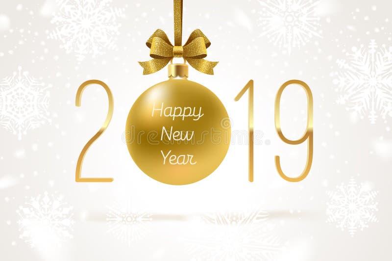 Goldener Flitter des Feiertags mit Funkelngoldbogenband und Zahl des neuen Jahres 2019 glückliches neues Jahr 2007 lizenzfreie abbildung