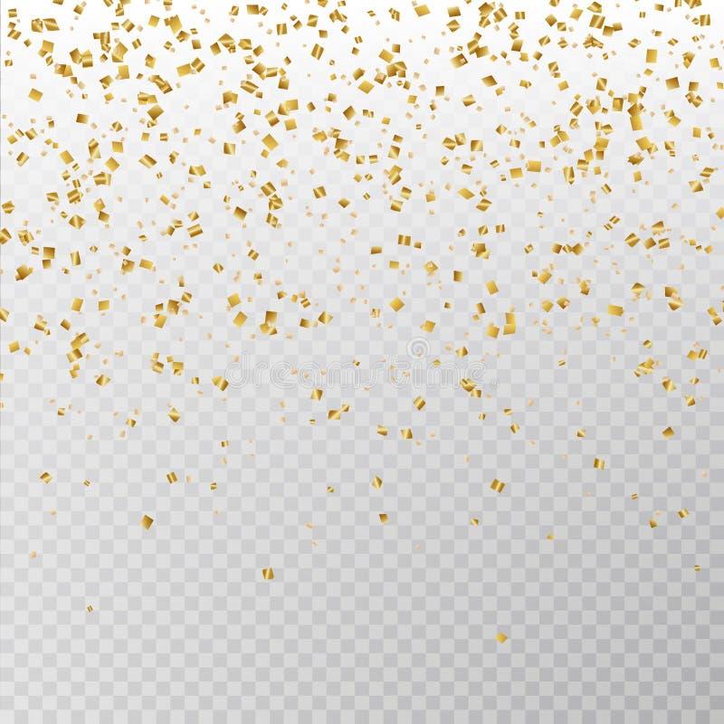 Goldener Funkelnkonfettivektor Papierlamettabeschaffenheit Carnaval lokalisiert auf Hintergrund Partei-Konfettis stock abbildung