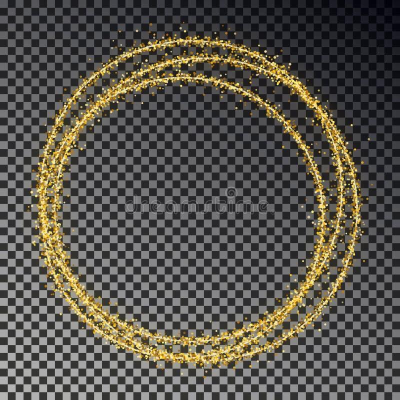 Goldener Funkelnring lokalisiert auf dunklem Hintergrund Glanzgoldkreis von Scheinpartikeln Magischer Chris stock abbildung
