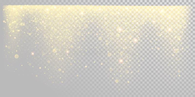 Goldener Funkelnschnee des Weihnachtsfeiertags oder funkelnde Goldkonfettis auf weißer Hintergrundschablone Partikel-Lichtglanz d vektor abbildung