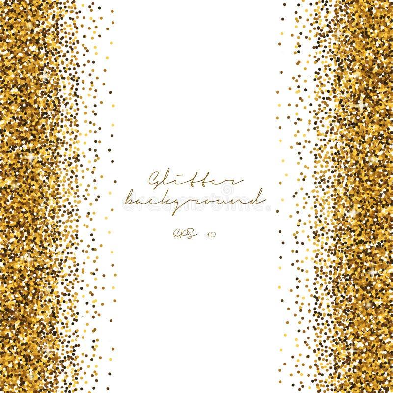 Goldener Funkelnzusammenfassungshintergrund Glänzender Hintergrund des Lamettas Luxusgoldschablone Vektor lizenzfreie abbildung