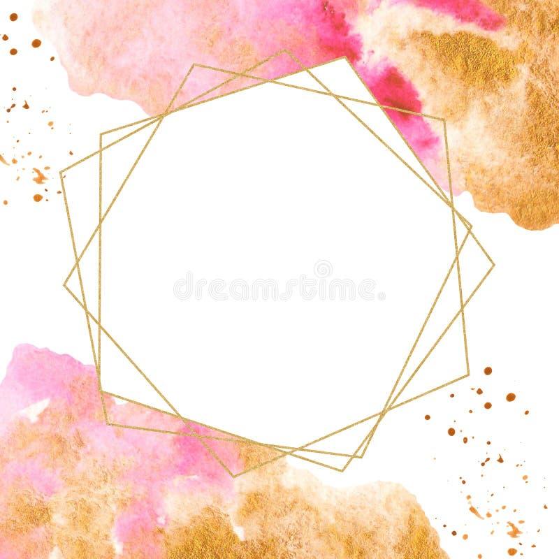 Goldener geometrischer Rahmen mit Aquarellfleck stock abbildung