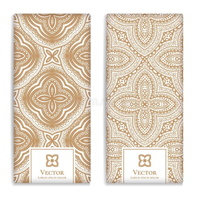 Goldener geometrischer Vektorsatz goldene Verpackungsgestaltung stock abbildung