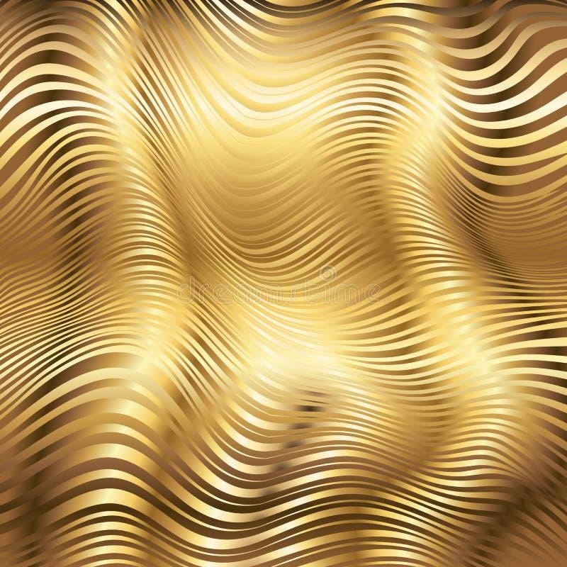 Goldener gestreifter Wellenvektor-Zusammenfassungshintergrund vektor abbildung